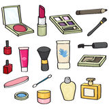 Cartoon Cosmetics Set. Set of 18 cartoon cosmetics for use in your designs. Set includes: blusher, lipstick, eye shadow, mascara wand, makeup brushes, eye liner stock illustration