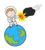 Cartoon Cosmonaut Hitting Asteroid Vector Illustration royalty free illustration