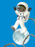 Cartoon cosmonaut - illustation for the children Royalty Free Stock Image