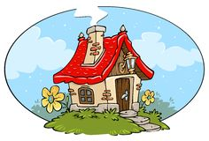Cartoon Cottage Frame. Cartoon Cottage -Clip-art for Kids Illustrations Stock Photos