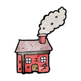 Cartoon cottage with smoking chimney Royalty Free Stock Photo