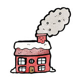 Cartoon cottage with smoking chimney Royalty Free Stock Photos