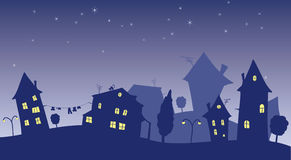 Cartoon cottages at nigth Royalty Free Stock Images