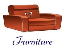 Cartoon couch furniture character Stock Image