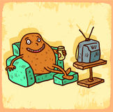 Cartoon couch potato illustration , vector icon. Royalty Free Stock Images