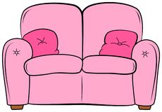 Free Cartoon Couch With Pillow. Pink Sofa With Cushion Clipart Stock Photography - 142708412