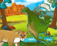 Cartoon cougar with continent map Royalty Free Stock Photos