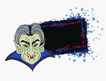 Cartoon Count Dracula , grunge Halloween frame Stock Photo