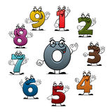 Cartoon count numbers characters vector icons. Numbers icons of vector cartoon characters. Smiling numerical figures or numeral digits with eyes, showing Royalty Free Stock Images