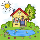 The cartoon country house and a lake with fish, summer vacation. For design Royalty Free Stock Photo