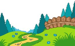 Cartoon country landscape vector illustration