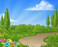 Cartoon Country Lane Park or Garden Background stock illustration