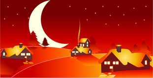 Cartoon countryside. Ilustration of cartoon countryside with moon vector illustration