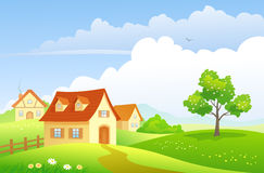 Cartoon countryside. Illustration of a beautiful summer village Stock Images