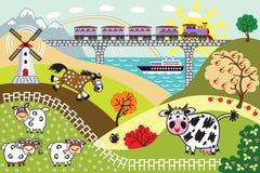 Cartoon countryside  landscape Stock Photos