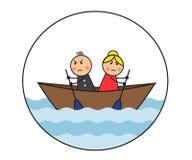 Cartoon couple arguing and quarreling Stock Photos