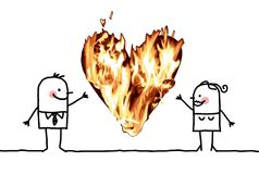 Cartoon Couple with a big Burning Heart. Vector Cartoon Couple with a big Burning Heart collage Royalty Free Stock Image