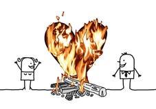 Cartoon Couple with a big Burning Heart. Vector Cartoon Couple with a big Burning Heart collage Royalty Free Stock Photos