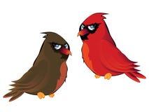 Cartoon Couple of Cardinals Royalty Free Stock Photo