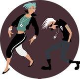 Cartoon couple dancing Stock Images