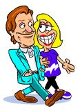 Cartoon couple on a date. Cartoon illustration of man in a green suit walking arm in arm with a blonde woman in a vivid purple dress with white stripe smiling Royalty Free Stock Photos