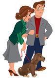 Cartoon couple with dog Stock Image