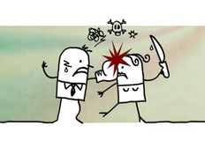 Cartoon couple and domestic violence. Illustration Stock Images