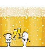 Cartoon Couple Drinking Champagne and Bubbles Background royalty free illustration