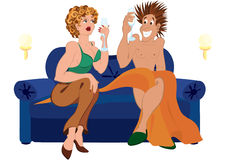 Cartoon couple drinking champagne cocktail sitting on blue couch Royalty Free Stock Photos