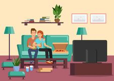 Cartoon couple eating pizza and drinking cocktails vector illustration