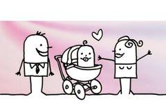 Cartoon couple with ew born baby stock illustration