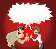 Cartoon couple fighting. And pointing finger at each other Stock Image