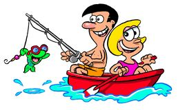 Cartoon couple fishing. Cartoon caricature of man and woman in boat fishing with smiling fish wearing goggles Stock Images