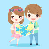 Cartoon couple go to travel. And take map on the blue background Stock Photos