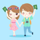 Cartoon couple go to travel. And take passport on the blue background Stock Photos