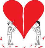 Cartoon couple holding heart together. A cartoon illustration of a heart (Vector format available) that is broken, being held together by a couple Royalty Free Stock Photo