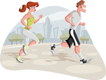 Cartoon couple jogging. In the city park Stock Images