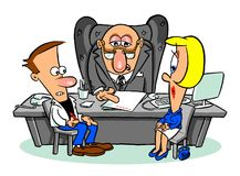 Cartoon couple with lawyer or banker. Cartoon caricature of mature couple seated at desk with a banker or lawyer looking at a document Royalty Free Stock Photography