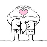 Cartoon couple making  heart sign with their hands. Vector Stock Photo