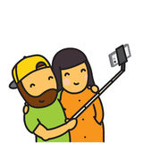 Cartoon couple making photo using smartphone and selfie stick vector illustration Royalty Free Stock Photo