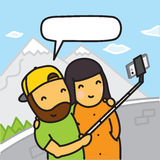 Cartoon couple making photo using smartphone and selfie stick vector illustration Stock Images