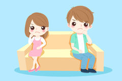 Cartoon couple quarrel. On the blue background Stock Photo
