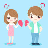 Cartoon couple quarrel. On the blue background Royalty Free Stock Image