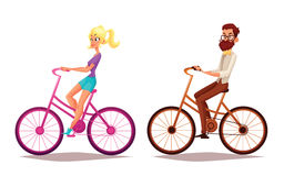 Cartoon couple riding bikes Stock Photography