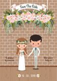 Cartoon couple rustic blossom flowers save the date wedding invitation card. With brick wall vector illustration