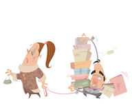 Cartoon couple shopping woman having husband with lash carrying Stock Photography