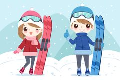Couple with skiing. Cartoon couple with skiing on the moutain stock illustration