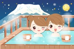 Couple with hot spring Stock Photography