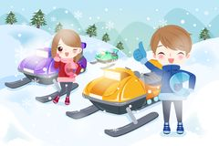 Couple is snowmobiling Royalty Free Stock Photos