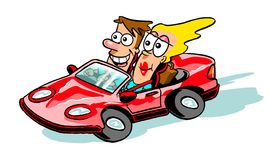 Cartoon couple in sports car. Cartoon caricature of couple driving red sports car convertible Stock Photo
